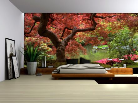 Flowering red tree wall murals